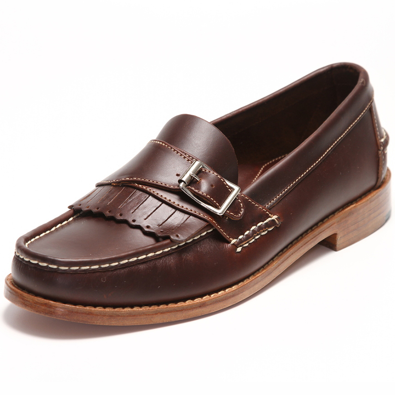 Handsewn Shoe Co. Buckle Kilt Loafer Dark Brown Image