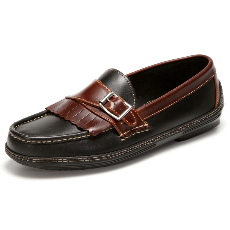 Handsewn Shoe Co. Fringe Monk Drivers Black / Brown Image