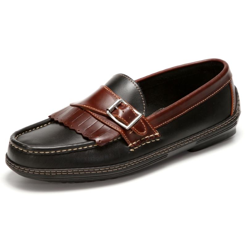 Handsewn Shoe Co. Fringe Monk Drivers Black / Brown Image