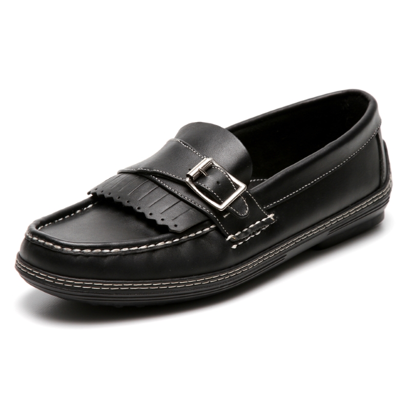 Handsewn Shoe Co. Fringe Monk Drivers Black Image