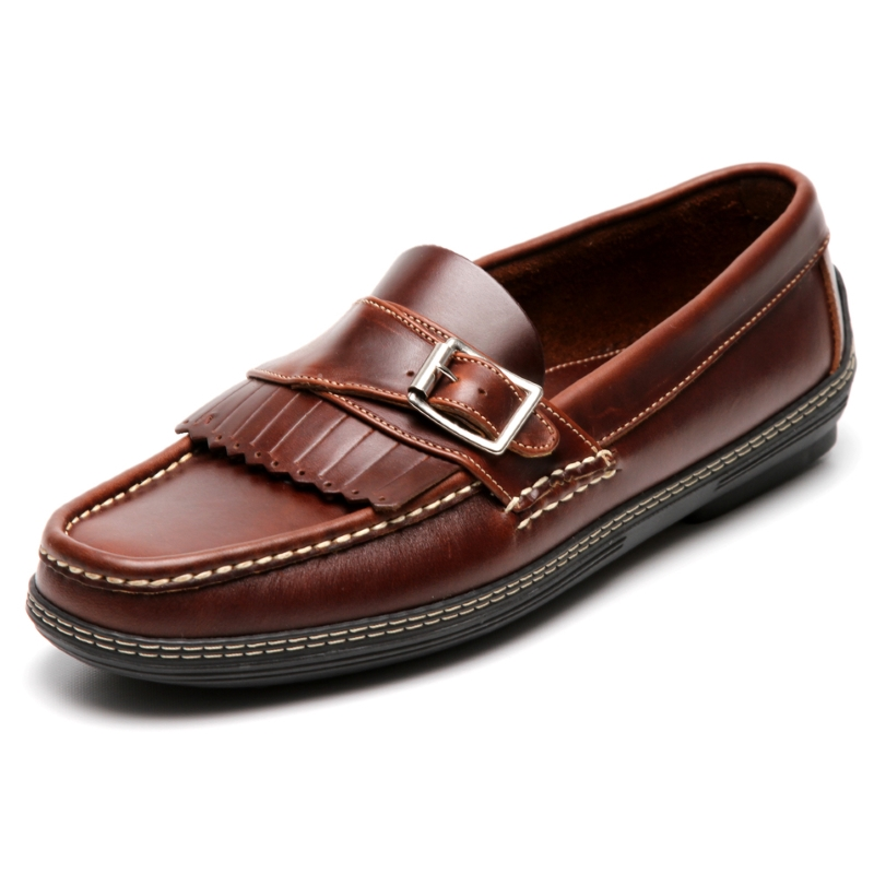 Handsewn Shoe Co. Fringe Monk Drivers Dark Brown Image