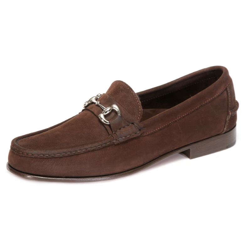 Handsewn Shoe Co. Nubuck Bit Loafers Dark Brown Image