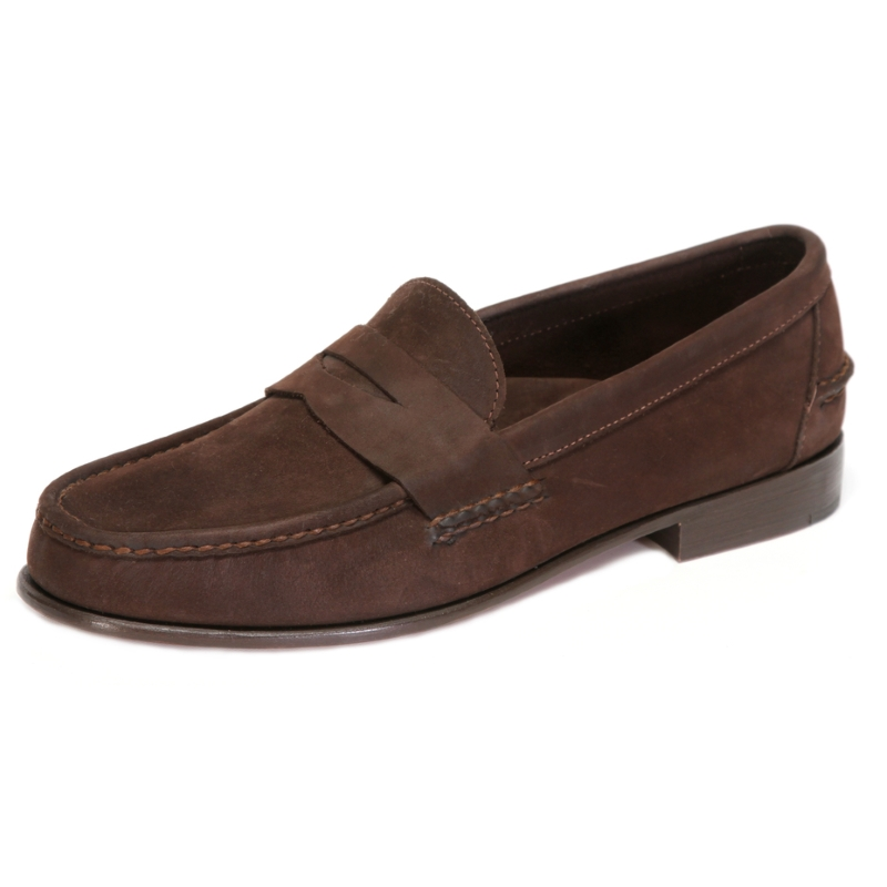 Handsewn Shoe Co. Nubuck Penny Loafers Brown Image