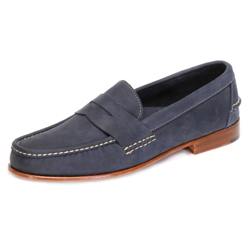 Handsewn Shoe Co. Nubuck Penny Loafers Navy Image