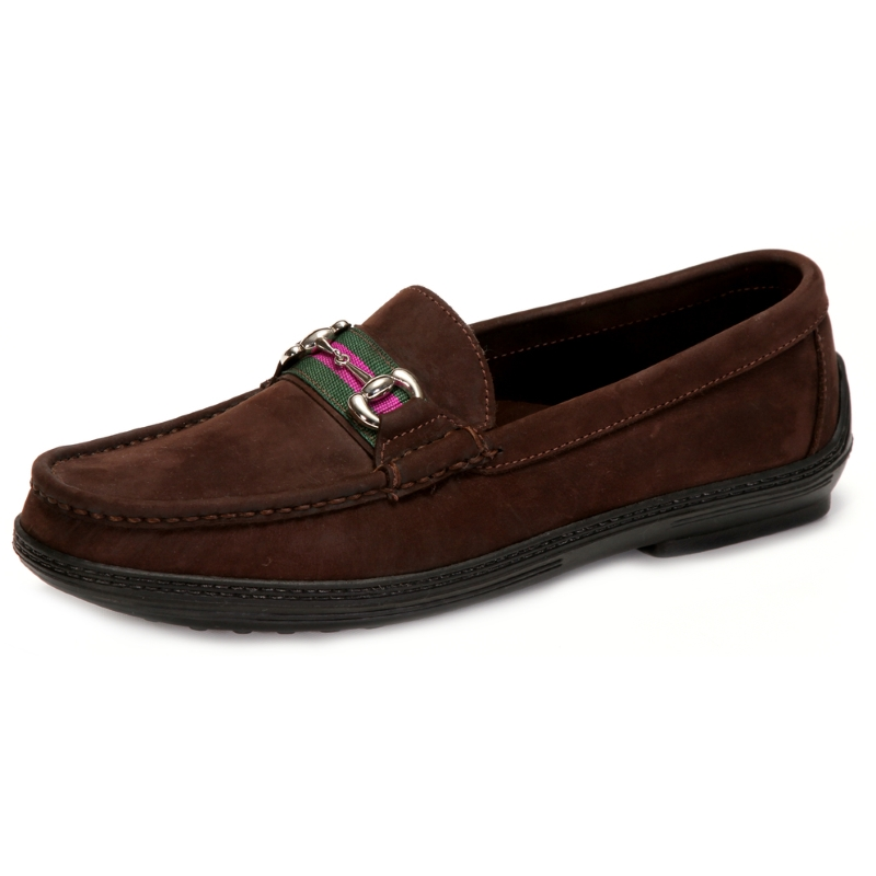 Handsewn Shoe Co. Nubuck Stripe Loafers Dark Brown Image