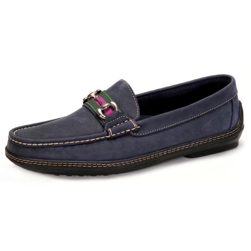 Handsewn Shoe Co. Nubuck Stripe Loafers Navy Image