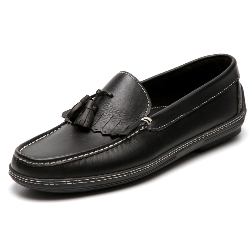 Handsewn Shoe Co. Fringe Tassel Driving Loafers Black Image
