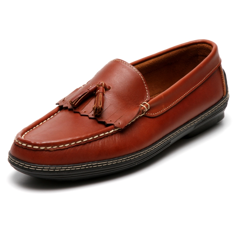 Handsewn Shoe Co. Fringe Tassel Driving Loafers Brown Image