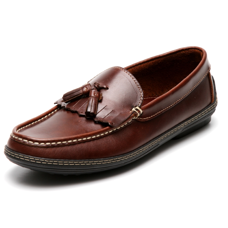 Handsewn Shoe Co. Fringe Tassel Driving Loafers Dark Brown Image