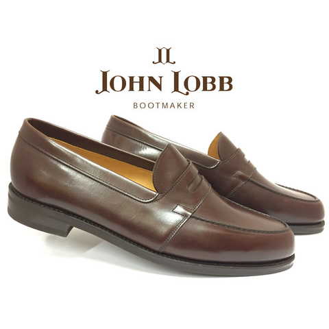 John Lobb Churston Goodyear Welt Calfskin Penny Loafers Dark Oak Image