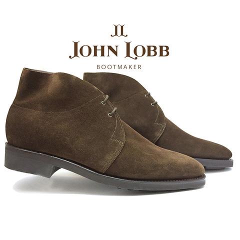 John Lobb Romsey II Goodyear Welt Suede Boots Dark Brown Image