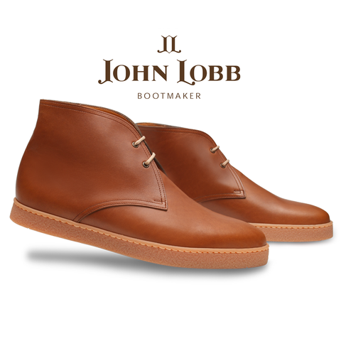 John Lobb Turf Calfskin Ankle Boots Burnt Sienna Image