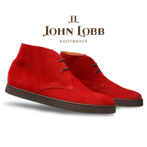 John Lobb Turf Suede Ankle Boots Red Image