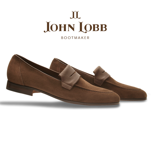 John Lobb Turvey Suede Penny Loafers Tobacco Image