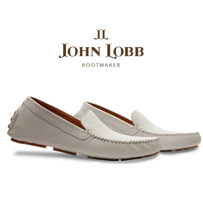 John Lobb Velveteen Nubuck Driving Loafers Chalk WIDE Image