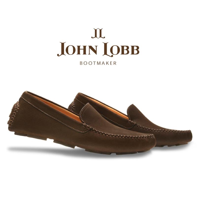 John Lobb Velveteen Nubuck Driving Loafers Earth Brown Image