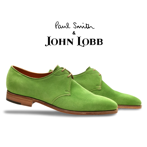 John Lobb Willoughy Suede Derby Shoes Lime Green Image