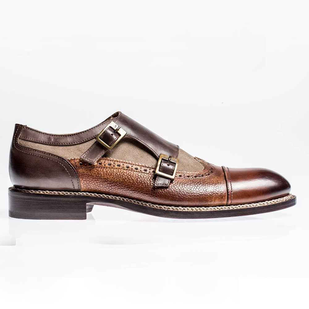 Jose Real Nordve Double Monk Shoes Brown Image