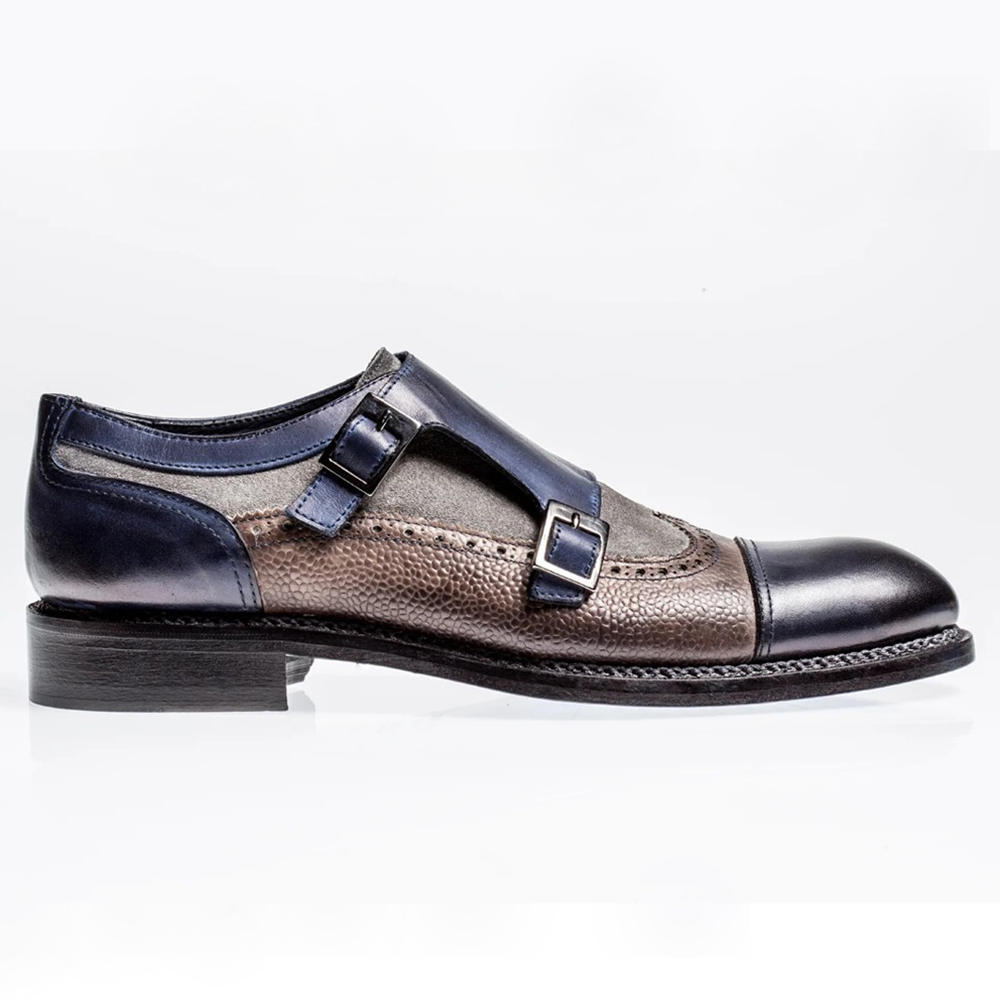 Jose Real Nordve Double Monk Shoes Grey / Blue Image