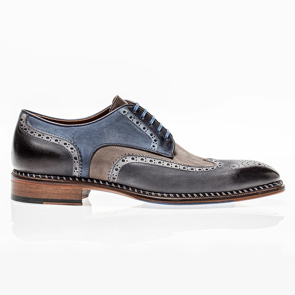 Jose Real Veloce Wingtip Derby Shoes Nabuck Antracite Image