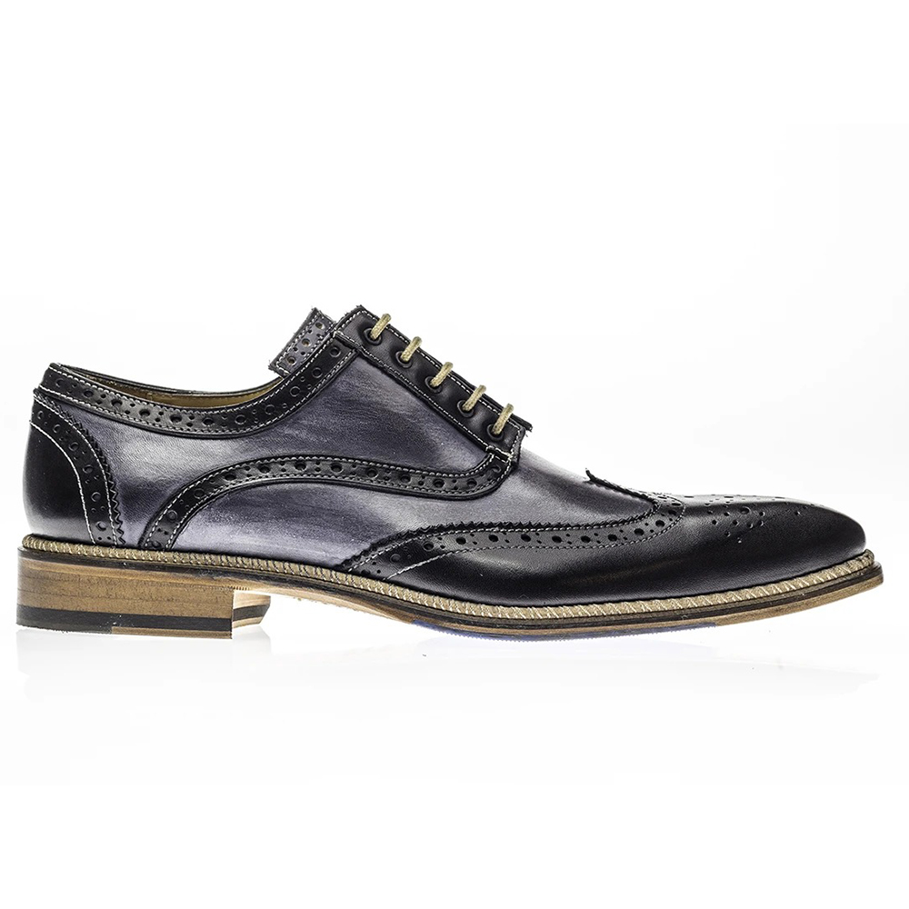 Jose Real Veloce Wingtip Shoes Black Antracite Image