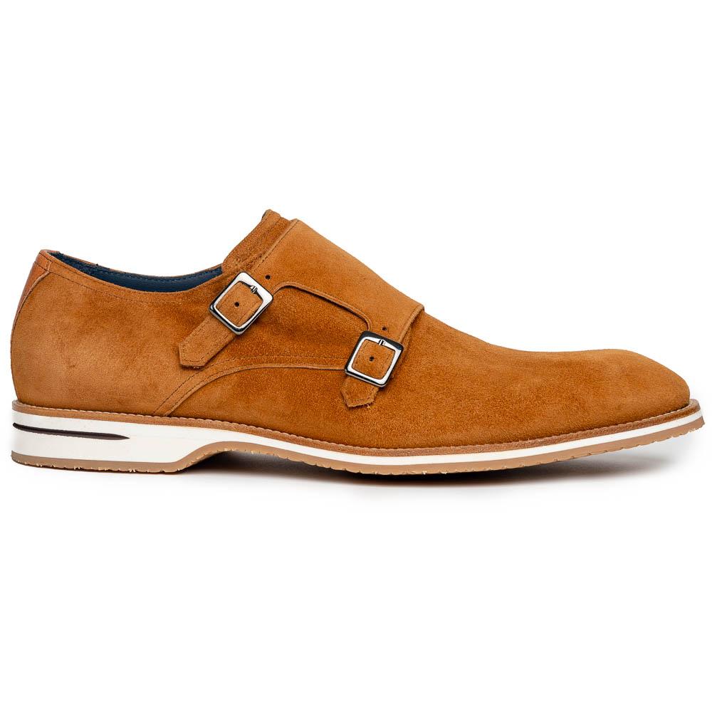 Zelli Legerra Suede Monk Strap Shoes Cognac Image