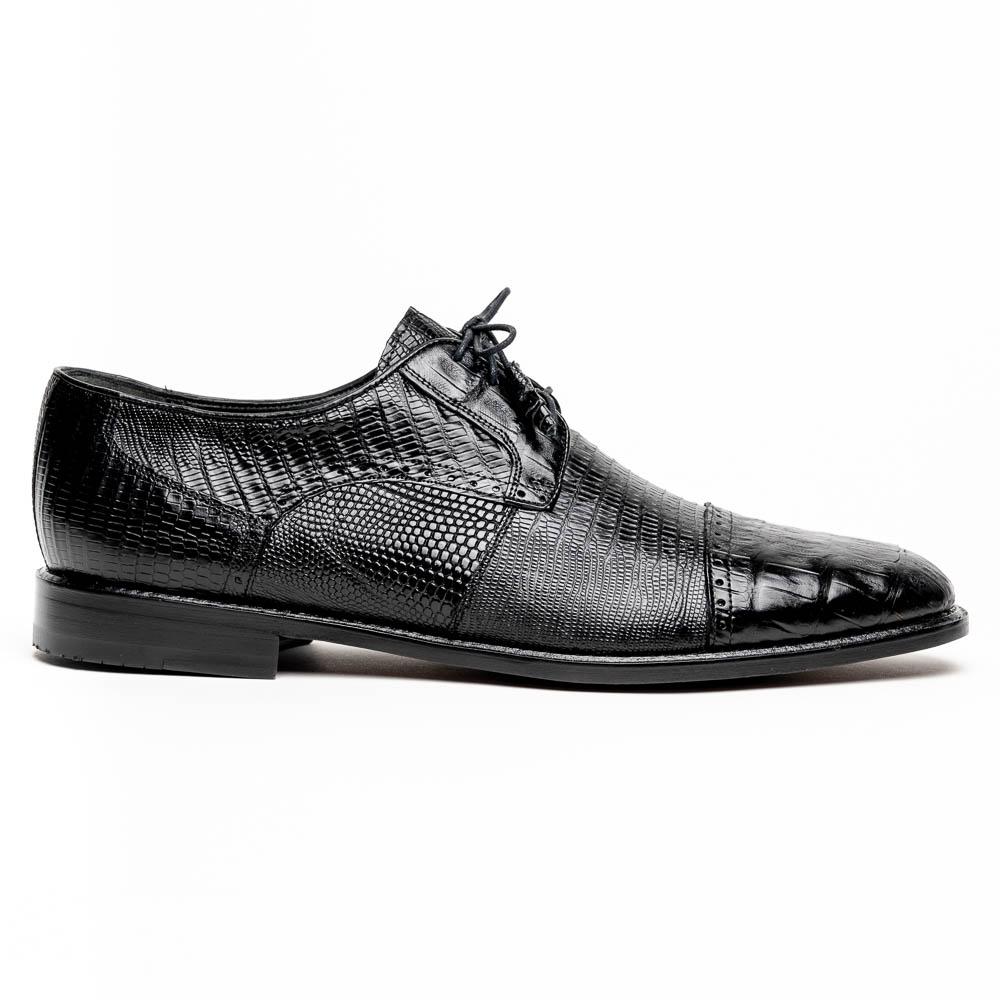 Los Altos Lizard & Caiman Cap Toe Shoes Black Image
