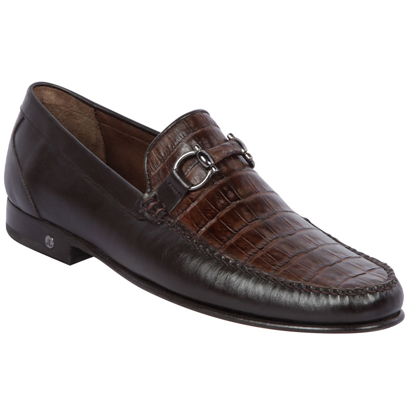 Lombardy Belly Caiman & Calfskin Bit Loafers Brown Image