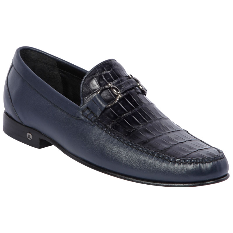 Lombardy Belly Caiman & Calfskin Bit Loafers Navy Blue Image