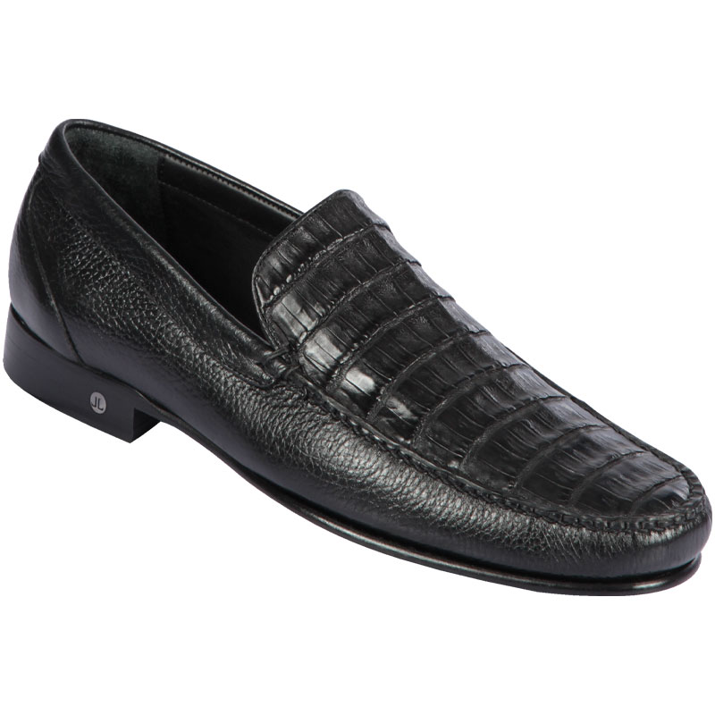 Lombardy Caiman Belly & Calfskin Loafers Black Image