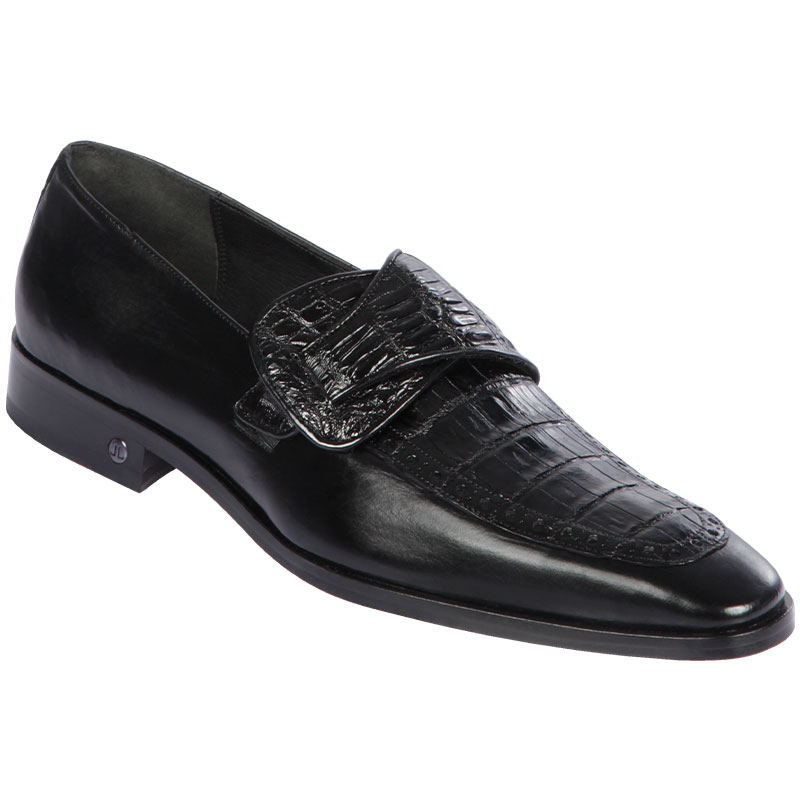 Lombardy Caiman Belly & Calfskin Monkstrap Dress Shoe Black Image