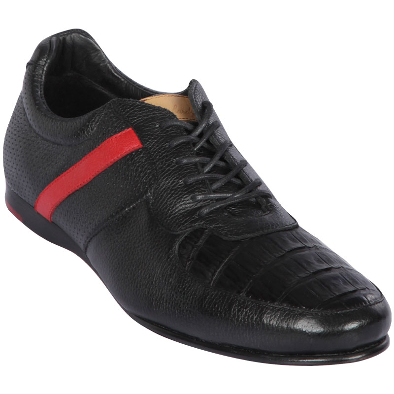 Lombardy Caiman Belly & Calfskin Sneaker Shoes Black Image
