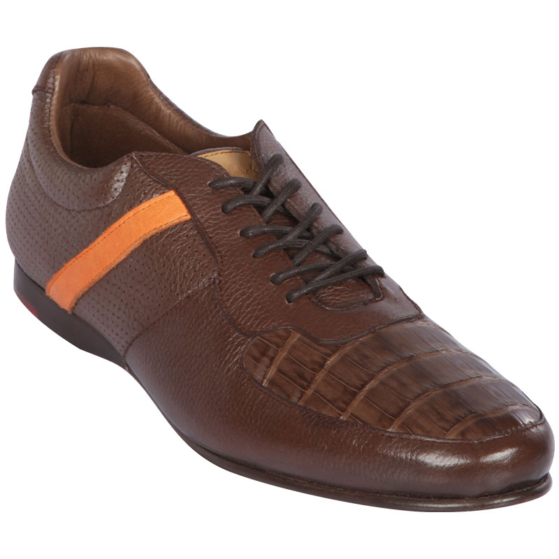 Lombardy Caiman Belly & Calfskin Sneaker Shoes Brown Image