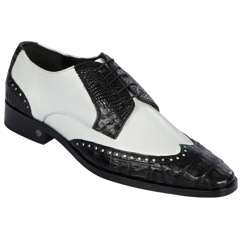 Lombardy Caiman Belly & Calfskin Wingtip Shoes Black/White Image