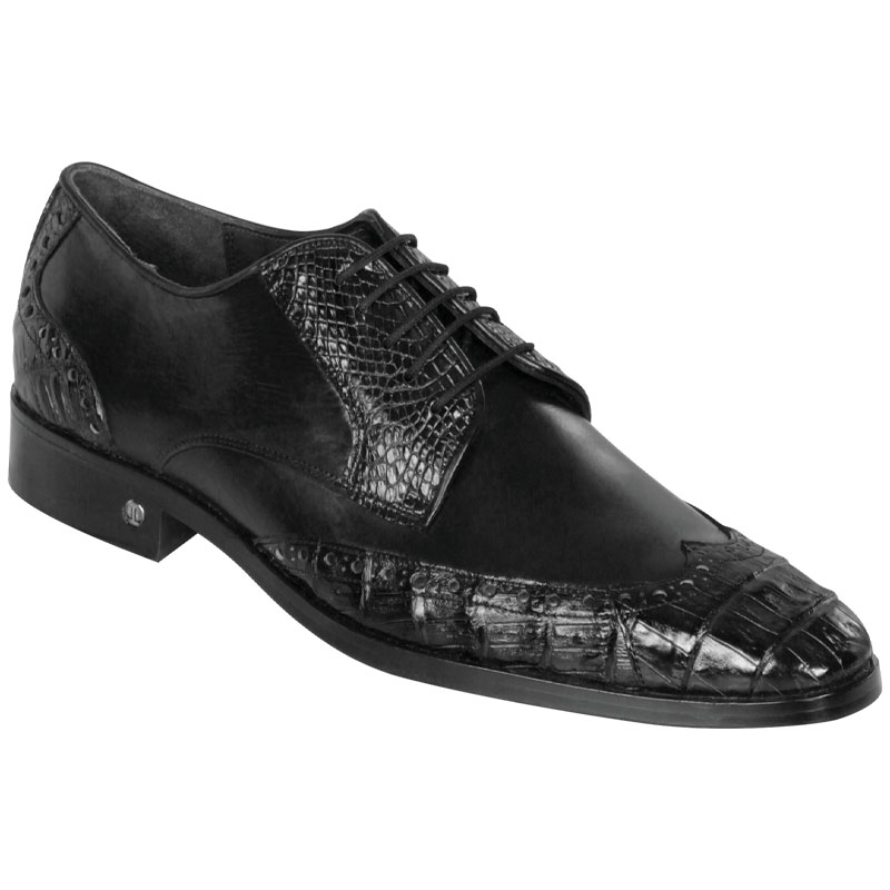 Lombardy Caiman Belly & Calfskin Wingtip Shoes Black Image
