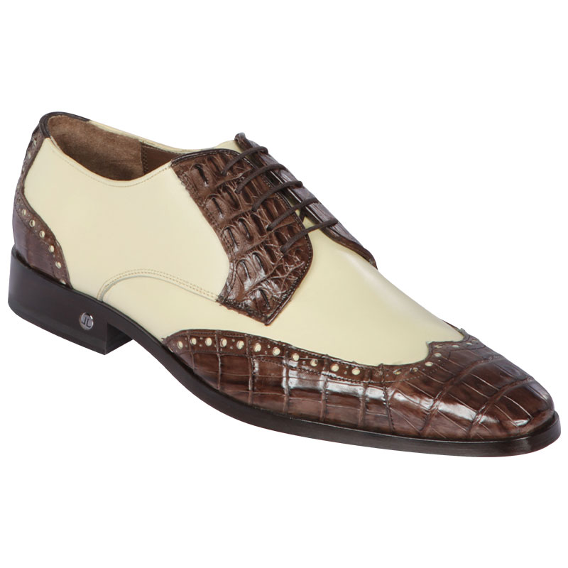 Lombardy Caiman Belly & Calfskin Wingtip Shoes Brown/Winter White Image
