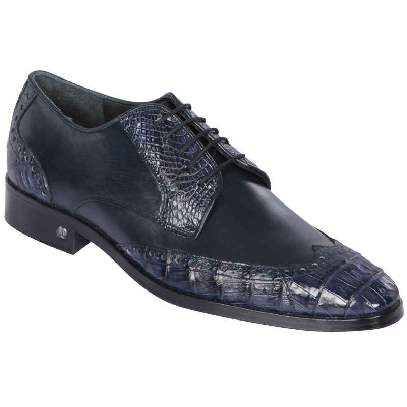 Lombardy Caiman Belly & Calfskin Wingtip Shoes Navy Blue Image