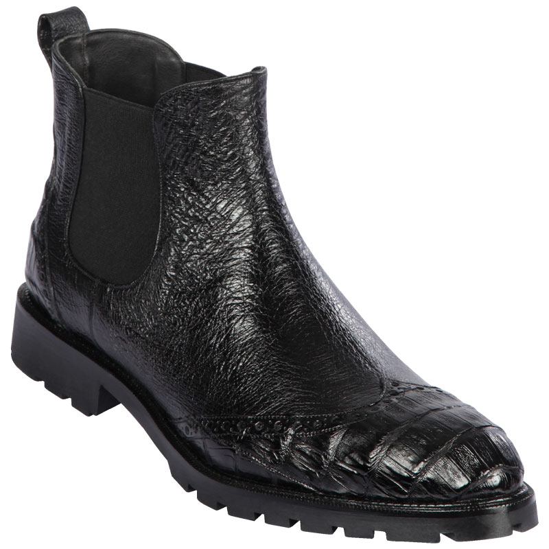 Lombardy Caiman Belly & Smooth Ostrich Chelsea Boots Black Image