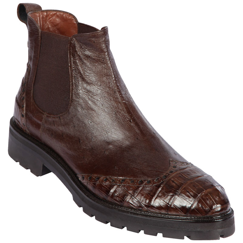 Lombardy Caiman Belly & Smooth Ostrich Chelsea Boots Brown Image