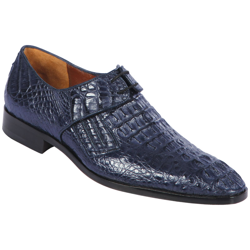 Lombardy Caiman Hornback Dress Shoes Navy Blue Image