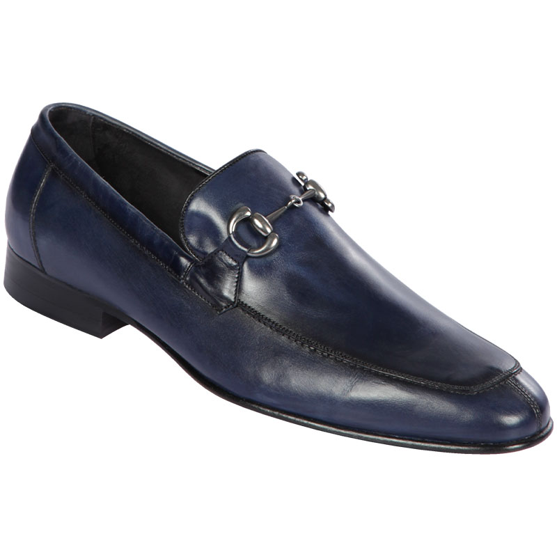 Lombardy Calf Leather Bit Loafers Faded Navy Blue Image