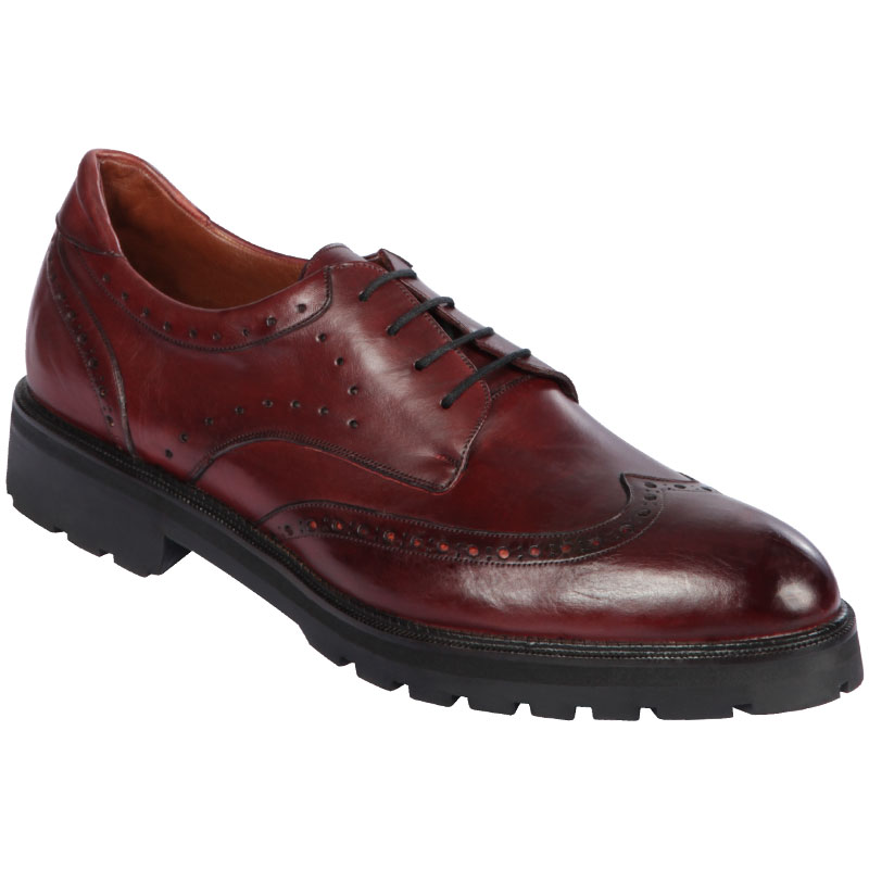 Lombardy Calfskin Wingtip Dress Shoes Faded Burgundy Image