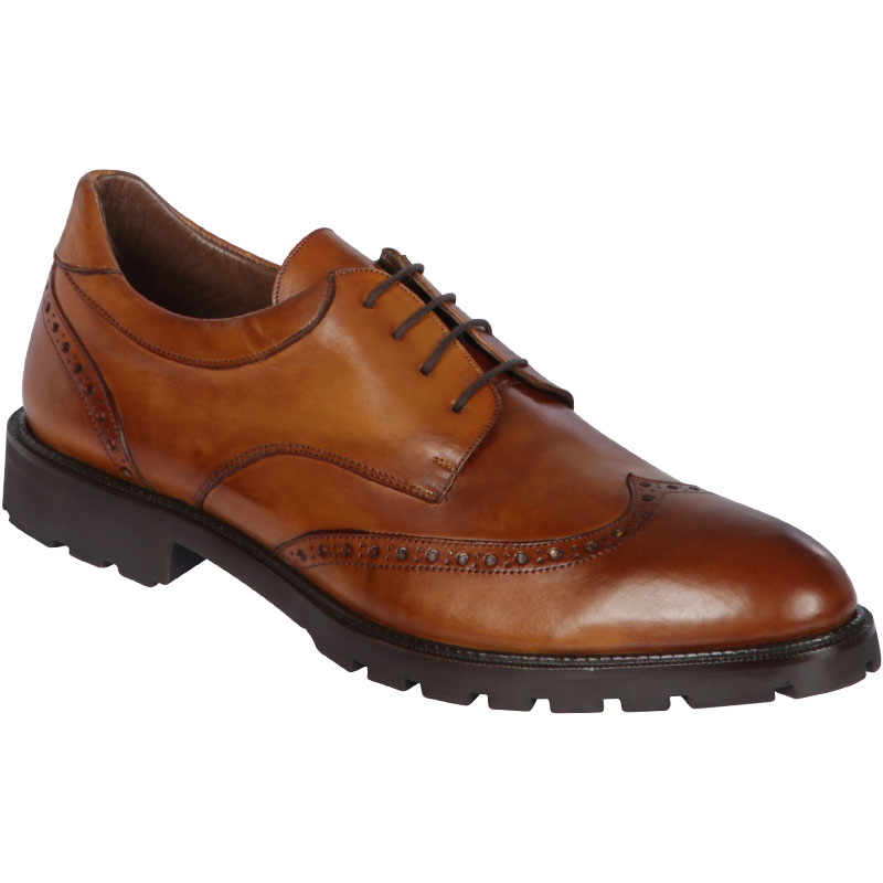 Lombardy Calfskin Wingtip Dress Shoes Faded Honey Image
