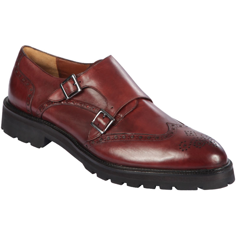 Lombardy Calfskin Wingtip Monk Strap Faded Burgundy Image