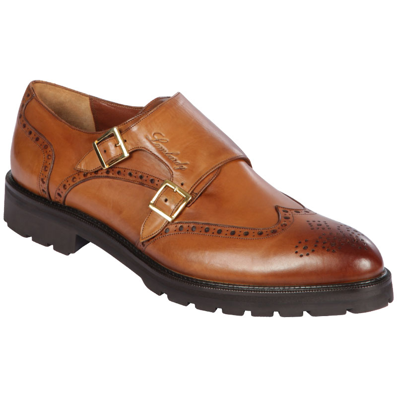 Lombardy Calfskin Wingtip Monk Strap Faded Honey Image