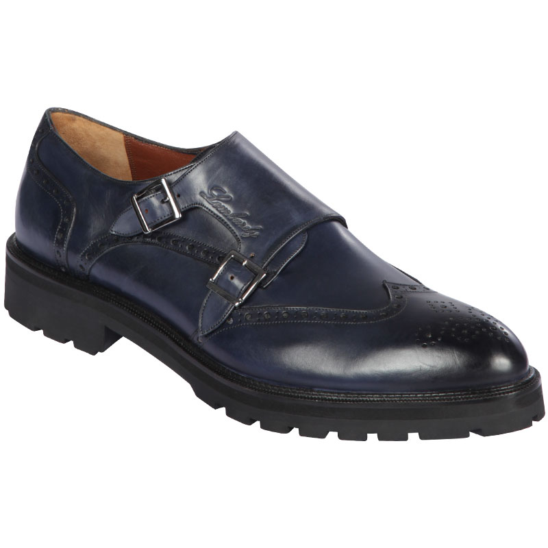 Lombardy Calfskin Wingtip Monk Strap Faded Navy Blue Image