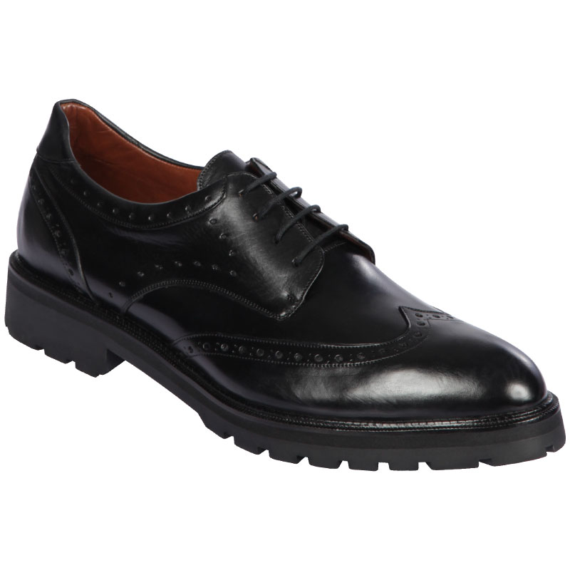 Lombardy Calfskin Wingtip Dress Shoes Laces Black Image