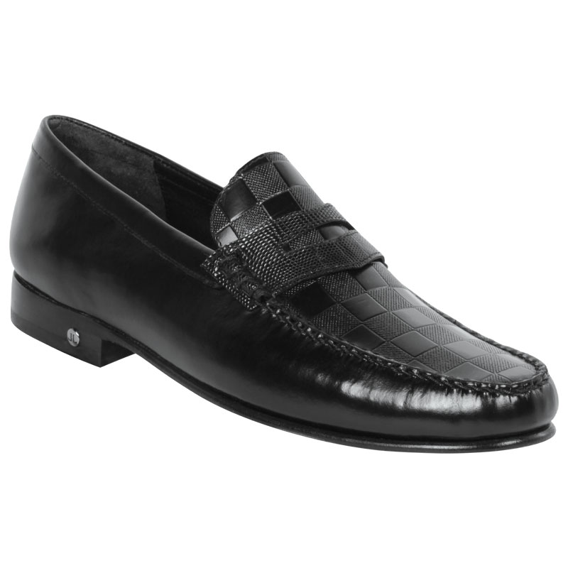 Lombardy Checkered Calfskin & Lizard Penny Loafers Black Image