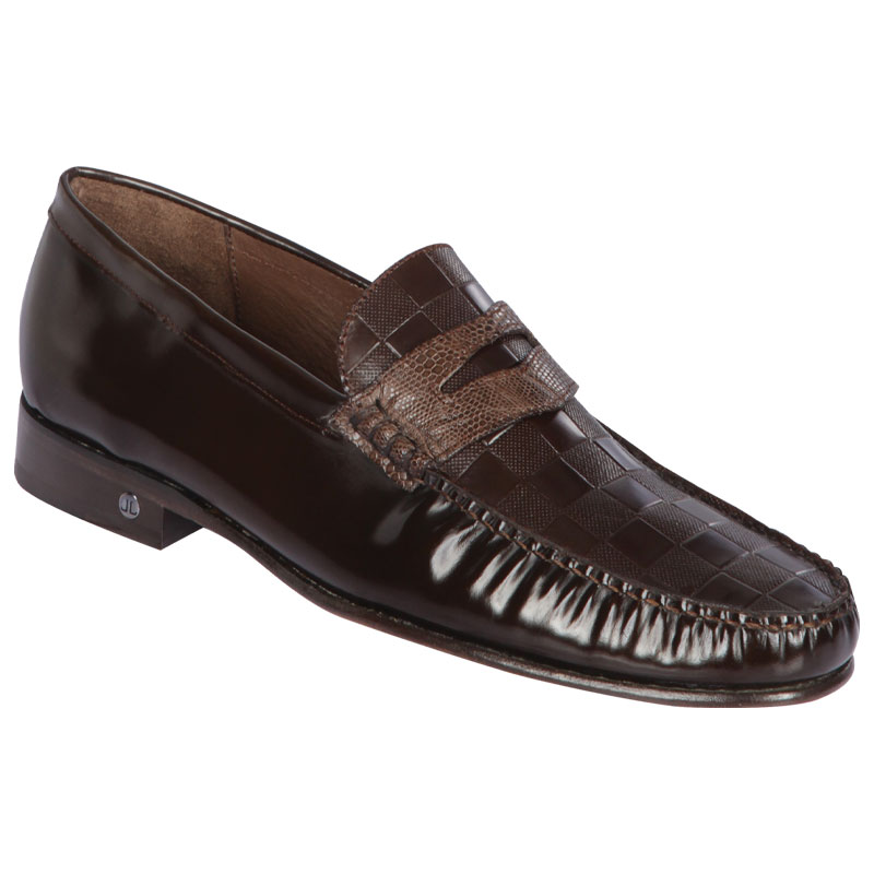 Lombardy Checkered Calfskin & Lizard Penny Loafers Brown Image