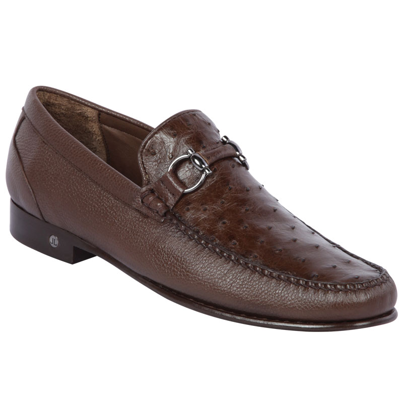 Lombardy Ostrich & Calfskin Bit Loafers Brown Image